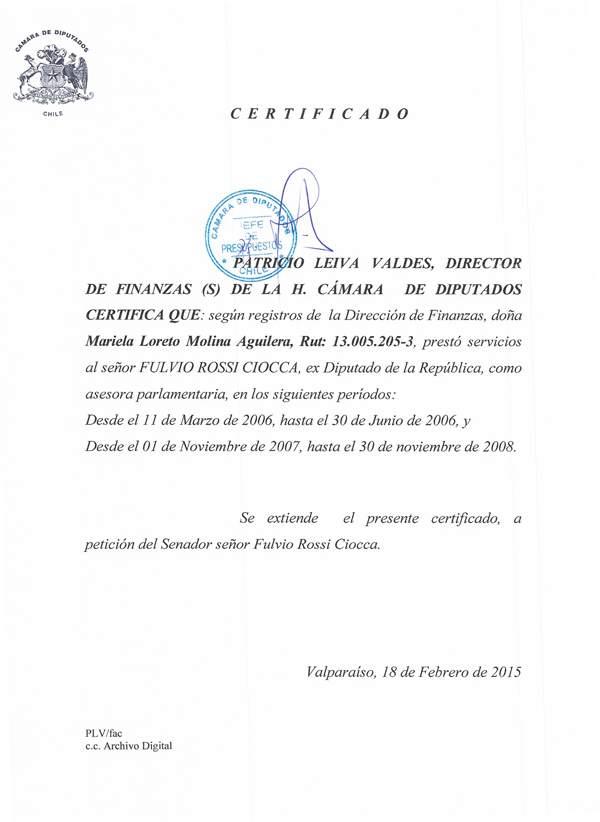 Certificado Rossi Cámara