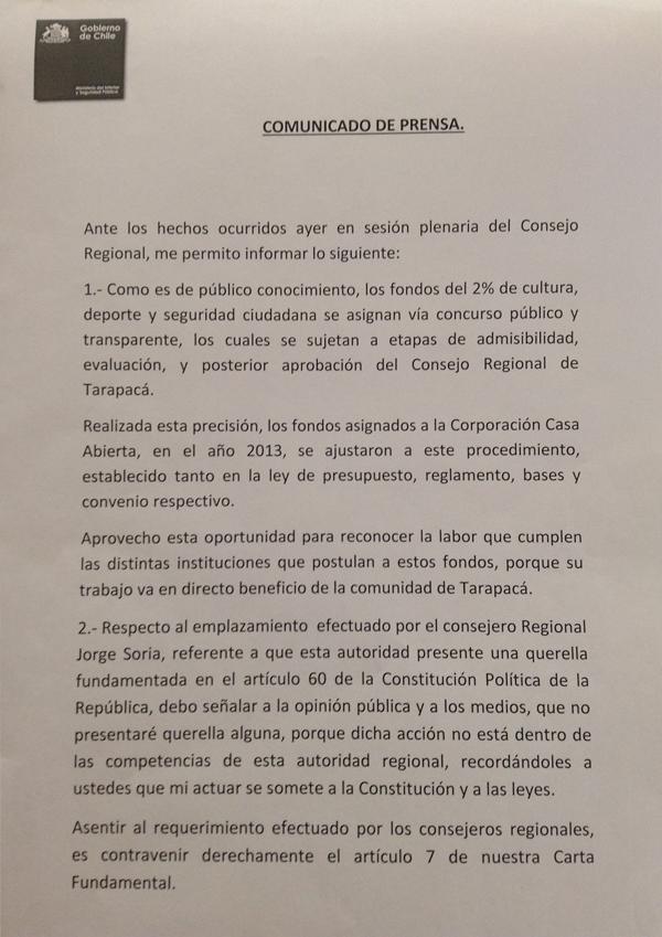 Declaración Pública Mitchel Cartes